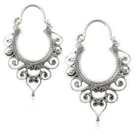 Silver Brass Swirl Hoop Earrings (Pair)