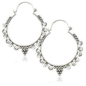 Silver Brass Round Swirl Hoop Earrings (Pair)