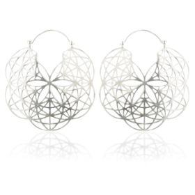Huge Silver Brass Mandala Hoop Earrings (Pair)