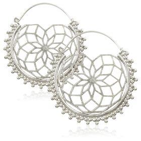 Silver Brass Hoop Earrings (Pair)