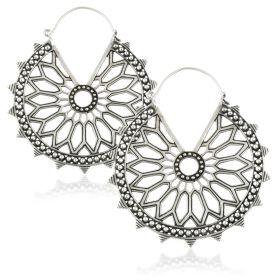 Huge Silver Brass Mandala Earrings (Pair)