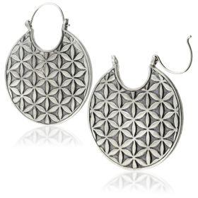 Silver Brass Geo Flower Hoop Earrings (Pair)