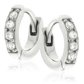 Pave Gem Tiny Steel Huggie Hoop Earrings (Pair)