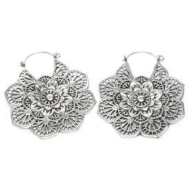 Silver Plate Brass Mandala Flower Earrings (Pair)