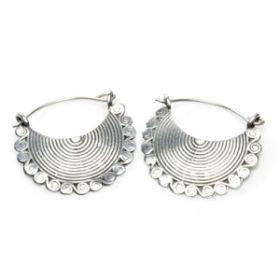 Silver Plate Brass Hoop Earrings (Pair)