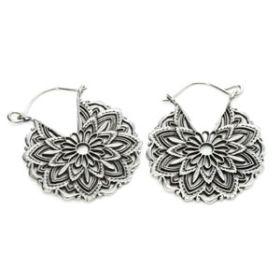 Silver Plate Brass Madala Earrings (Pair)