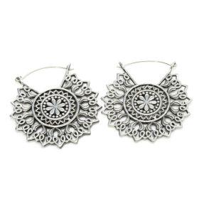Silver Brass Large Madala Earrings (Pair)
