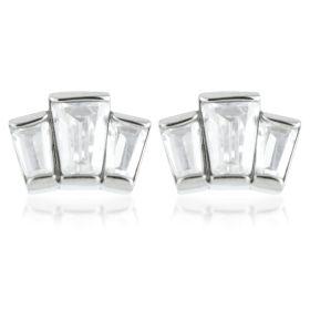 Stepped Baguette Steel Stud Earrings (Pair)