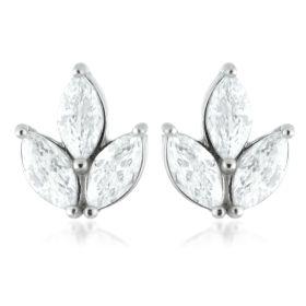 Marquise Fleur De Lis Steel Stud Earrings (Pair)