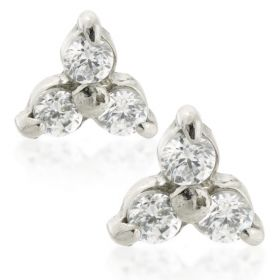 Gem Trinity Steel Stud Earrings (Pair)