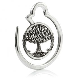 1x Tree Of Life Silver Plate Circle Ear Weight