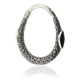 1x Hinged Silver Brass Black Onyx Ear Hoop Weight