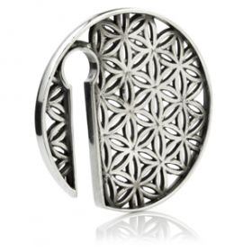 1x Geometric Round Silver Brass Ear Weight