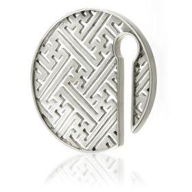1x Geometric Round Silver Brass Ear Weight
