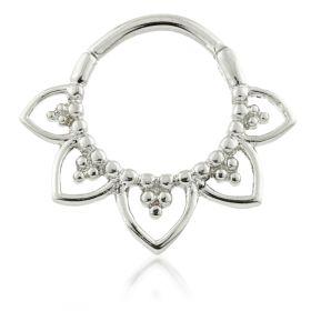 Steel Lotus Petal Daith Ring