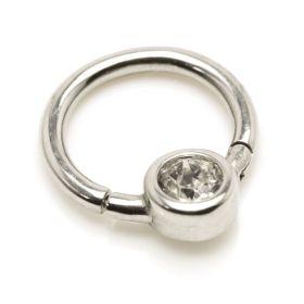 Steel Hinge Smiley Gem BCR Ring