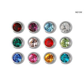 Studex Mini Assorted White Bezel Studs - Pack 12