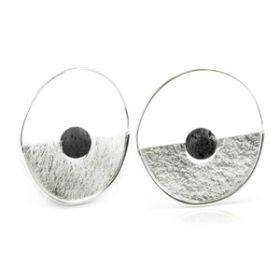 Silver Plate Brass Lava Disk Hoop Earrings (Pair)