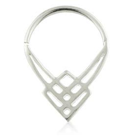 Art Deco Square Silver Open Ring