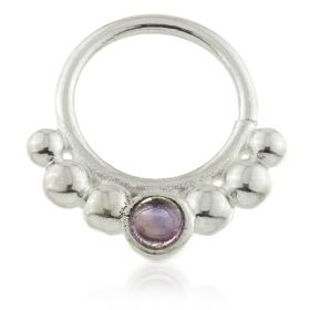 Dot Silver Open Ring with Round Gem