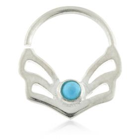 Art Deco Fan Silver Open Ring with Turquoise Gem