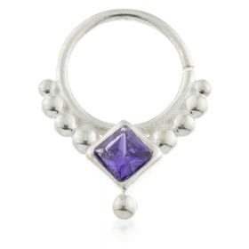Dot Silver Open Ring with Iolite Gem
