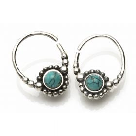 Silver Turquoise Open Earrings (Pair)