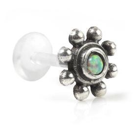 1x Opal in Silver & Plastic Labret