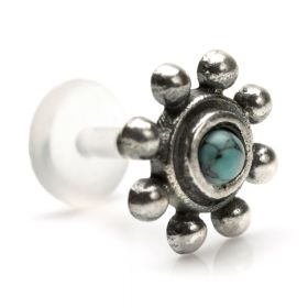 1x Turquoise in Silver & Plastic Labret