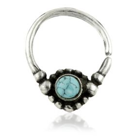 1x Silver Ornate Turquoise Open Ring