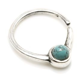 1x Silver Turquoise Open Ring
