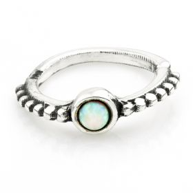 1x Silver Ornate Opal Open Cartilage Ring