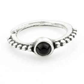 1x Silver Ornate Onyx Open Cartilage Ring