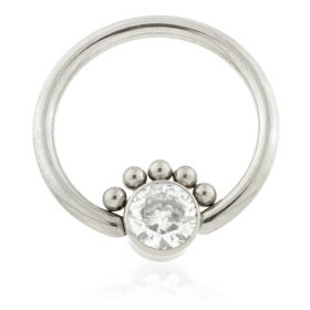 Ti BCR with Half Beaded Gem Flat Disk 1.2mm