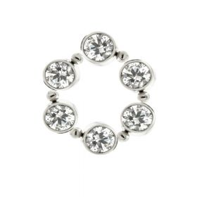 Ti Crystal Open Circle Charm for Hinge Segment Ring / BCR