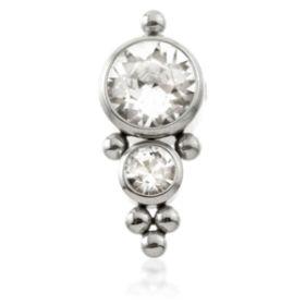 Ti Couture Titanium 2 Cluster Gems Flat Clip In Disk