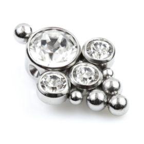 Ti Couture Titanium 4 Cluster Gems Flat Clip In Disk