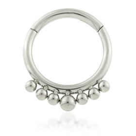 Titanium Front Mini Ball Hinged Daith Ring