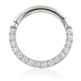 Steel Front Pavé Gems Hinged Daith Ring