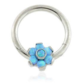 Ti Forward Facing Opal Flower Hinged Segment Ring