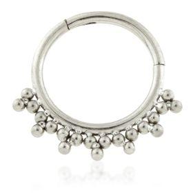 Ti Tribal bead Cluster Hinged Segment Ring