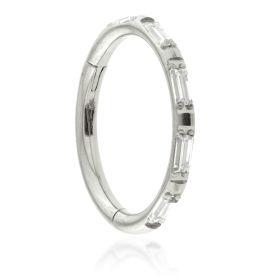 Titanium Jewelled Baguette Hinged Micro Ring - 1.2mm