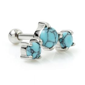 Turquoise Claw Set Tiple Gem Ear Stud