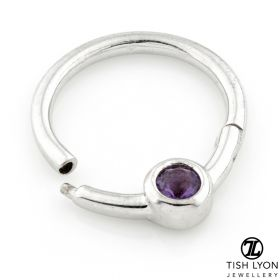 TL - 14ct White Gold Daith Amethyst Hinge Ring