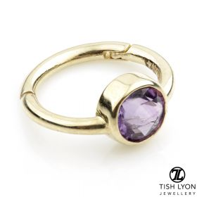 TL - 14ct Gold Facetted Amethyst Hinge Ring
