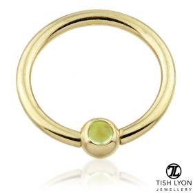 TL - 14ct Gold Peridot BCR - 1.2mm