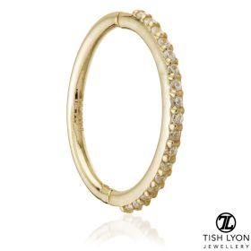TL - Gold Pavé Gem Eternity Hinge Conch Ring