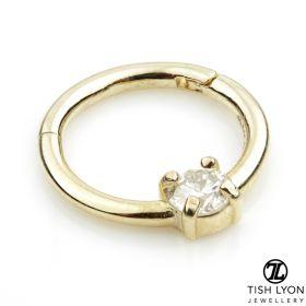 TL - 14ct Gold 3mm Diamond Claw Set Hinge Ring