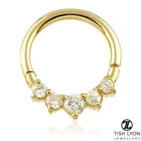 TL - 14ct Gold Front Facing Gem Hinge Ring