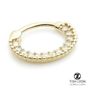 TL - 14ct Gold Diamond Pavé Daith Septum Ring